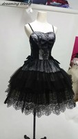 Gothic Style Black Lace Prom Dresses With Spaghetti Strap Bows Sexy Short Women Cocktail Party Gowns