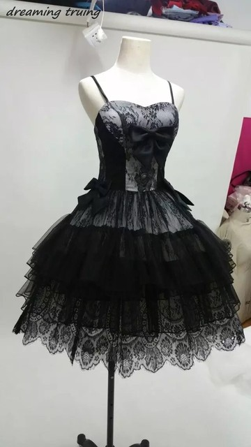 1450424bdb0 Gothic Style Black Lace Prom Dresses With Spaghetti Strap Bows Sexy Short  Women Cocktail Party Gowns Vestido De Festa 2018