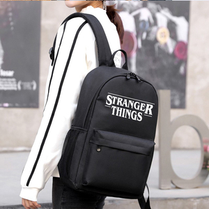 Image 4 - Stranger Things Teenage Backpack for Boys Girls Luminous School Bag USB charging Anti theft and Waterproof backpack for school