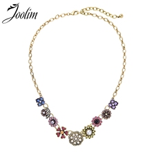 Joolim Colorful Crystal Flower Collar Necklace Statement