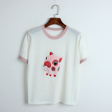 New arrival womens knitting T-shirts Korean style cartoon embroidered Tops tee A141