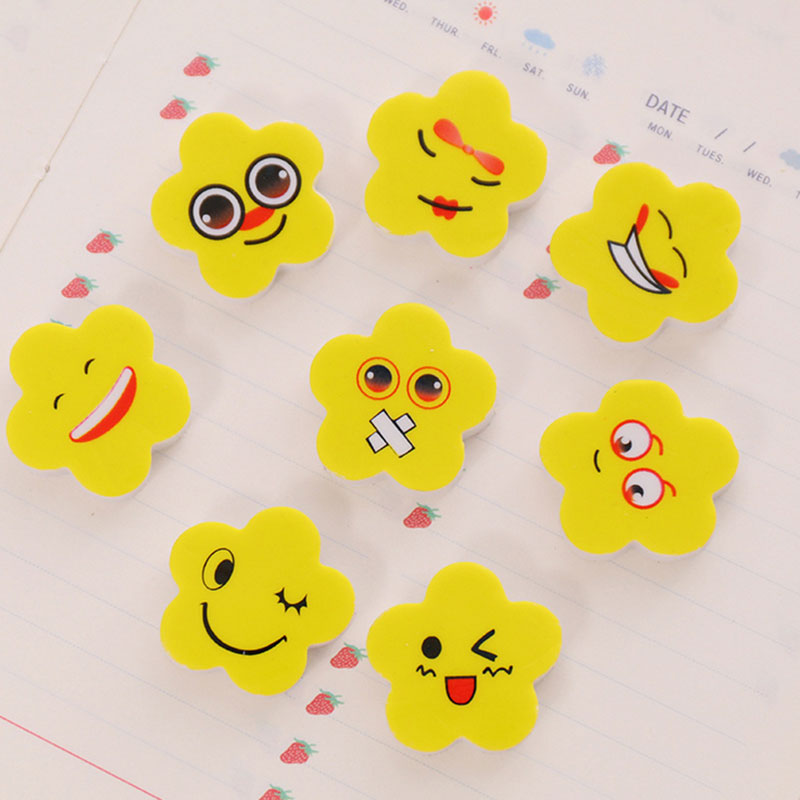 8pcs Cute Yellow Flowers Expression Rubber Eraser Kawaii Stationery School Supplies Papelaria Girl Gift For Kids Children's Toys