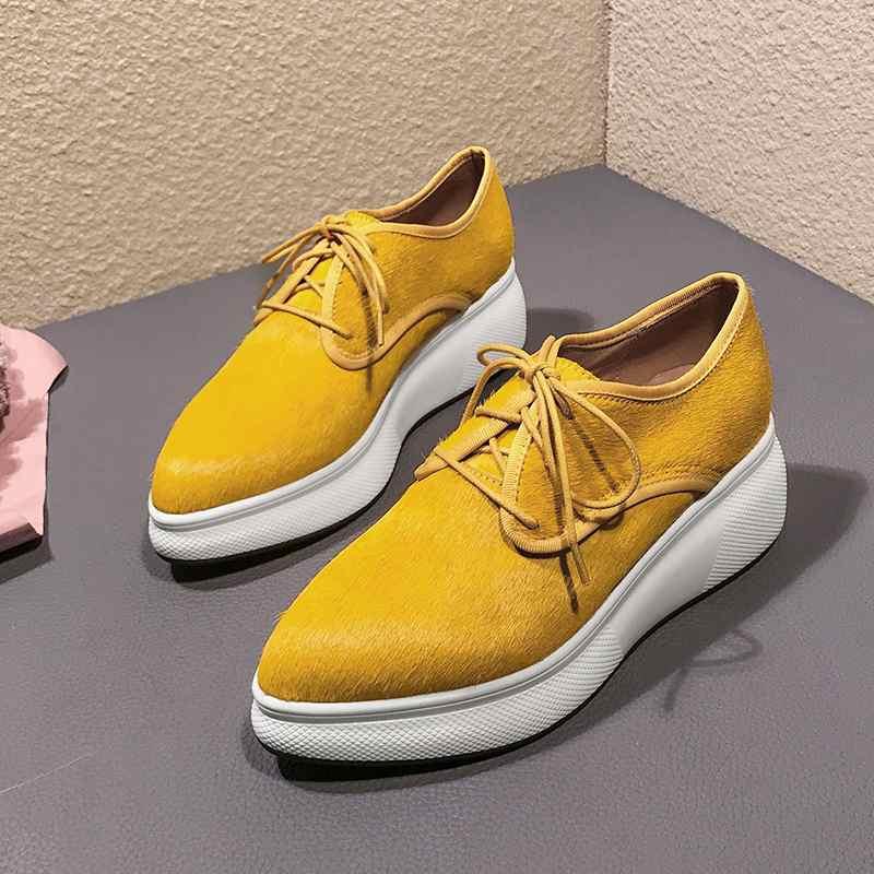 Puntiagudo Calle Para Chaussure amarillo Las Deporte Vulcanizados De Pie Negro La Crin Zapatos Del Mujer Plataforma Zapatillas Cuñas Mujeres Cómodo Dedo Caballo x7w7FTIqS