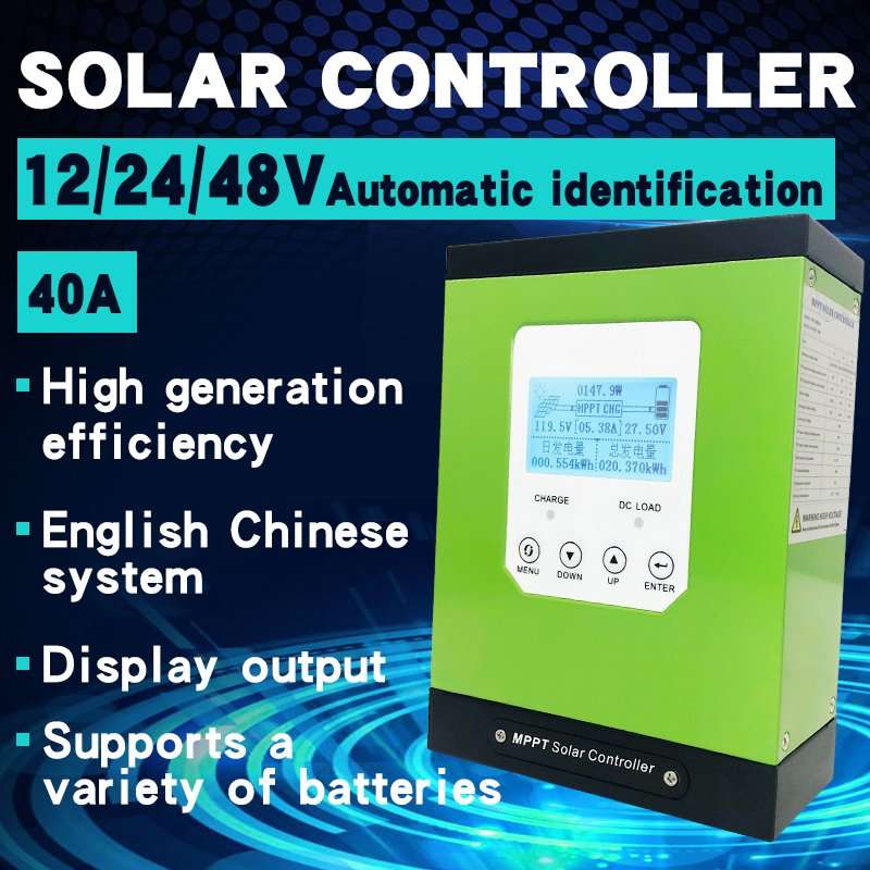 Mppt Solar Charge Controller 40a Solar Panel Regulator 12v 24v 48v Lcd Auto Lithium Ion Battery Lead Acid Cell 40a