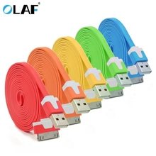 Olaf High Quality 1M Long Flat 30 PIN Micro USB Data Sync Charging Cable Cord for iPhone 4 4S 3 3S iPod