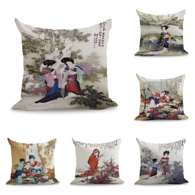 Groovy Us 6 8 Aliexpress Com Buy Ink Watercolor Chinese Traditional Beauty Ladies Pillows Linen Couch Seat Cushion Throw Pillow Home Decor Gift From Forskolin Free Trial Chair Design Images Forskolin Free Trialorg