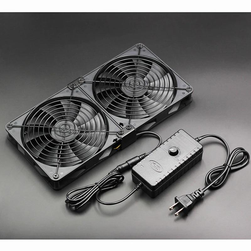 ZicHEXING-US 12V 4000RPM 7-Blade Mining Machine Cooling Fan 120MM Portable Ventilation Fan