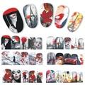 1 hoja Negro Rojo Chram Mujer Tatuajes de Transferencia de Agua Etiqueta Engomada Del Clavo Lleno Wraps Nails Art Stickers Watermark Decoraciones BN373-384