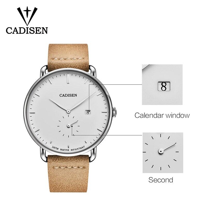Image 4 - CADISEN New Fashion Mens Watches Quartz Clock Ultra Thin Business Watch Mens Leather Wristwatch Waterproof Relogio MasculinoQuartz Watches   -