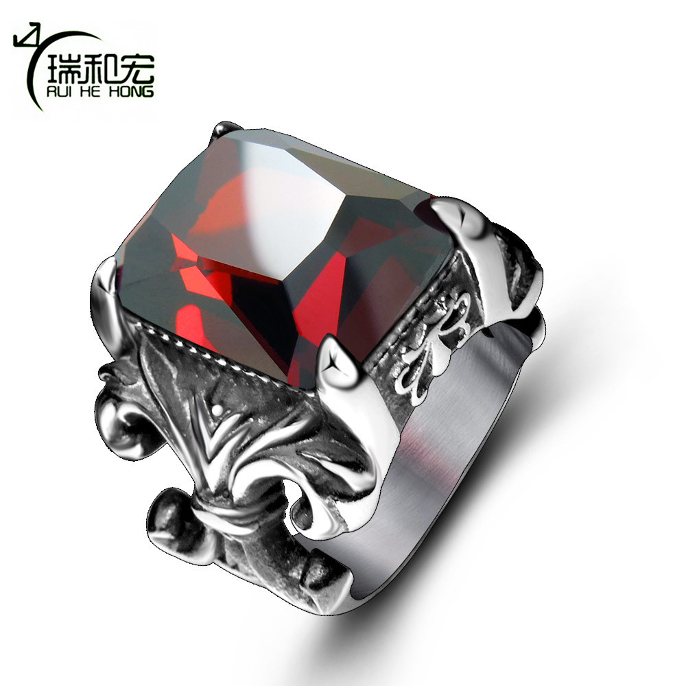 Titanium Steel Antique Ring Inlaid Big Red Cubic Zircon Casting Rings for Men Personality Vintage Jewelry Size 7-12