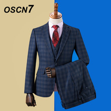 OSCN7 2019 Stripe Custom Made Suits Men Slim Fit Wedding Party Mens Tailor Made Suit Fashion 3 Piece Blazer Pants Vest ZM-592(China)