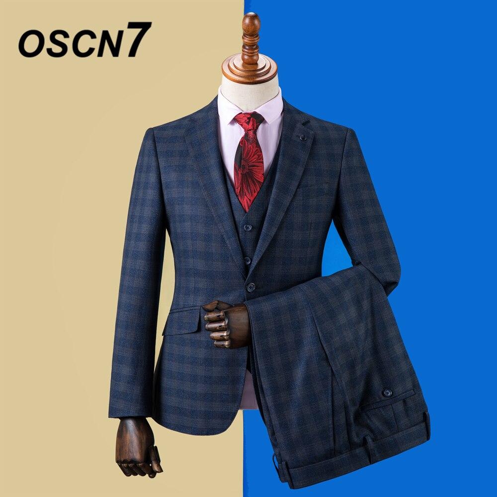 OSCN7 2019 rayure sur mesure costumes hommes Slim Fit fête de mariage hommes sur mesure costume mode 3 pièce Blazer pantalon gilet ZM-592