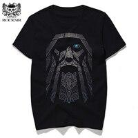 Rocksir Gorgeous Odin Viking Printed T Shirts Men Black Punk Cotton Short Sleeve Tee Shirt Men