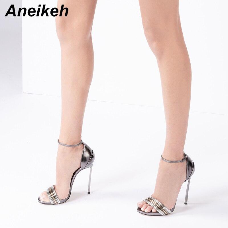 Aneikeh 2019 Fashion PU Sandals Women Summer Shoes Sexy Thin High Heels 13cm Cover Heel Wedding Female Pumps Size35-42 Gun color