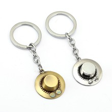 ONE PIECE Keychain ACE hat Key Ring Holder Chaveiro Car Key Chain Pendant Movie Jewelry YS11939