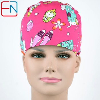 Hennar Scrub Caps 2018 Medical Womans Surgical Doctors Caps Masks With Sweatband Band For Woman Hospital  Nurse Bouffant Caps