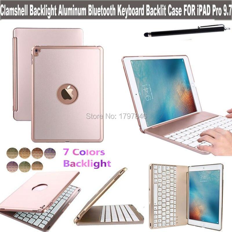 Kapaklı Arka Alüminyum Bluetooth Kablosuz Klavye Akıllı Kapak Apple iPad için Pro 9.7 Inç Tablet Folio Aydınlatmalı Kılıf Standı