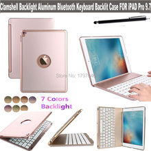 Cubierta de luz de fondo de aluminio bluetooth teclado inalámbrico smart cover para apple ipad pro 9.7 pulgadas tablet soporte folio retroiluminada caja