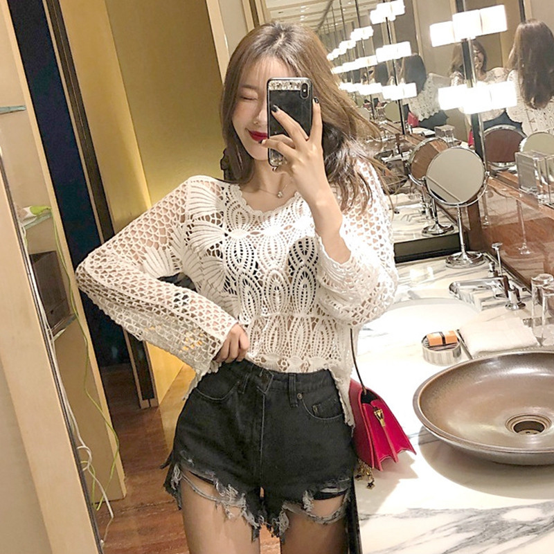 2019 Summer Women Crochet Lace Tops Blouse Long Sleeve Bikini Cover Up Sexy Hollow Swimsuit Cover-Ups Bathing Suit Beachwear(China)