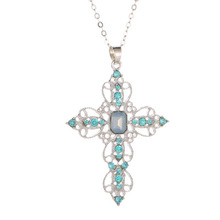 Hollow Cross Crystal Necklace for Women Bohemian National Style Accessories Fashion Pendant Jewelry Wholesale GiftWD122