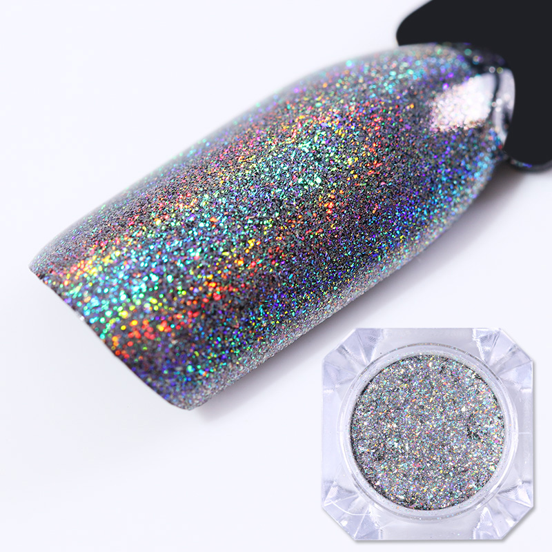 1 Doos Laser Holo Nail Glitter Galaxy Holografische Nail Pailletten Vlokken Pailetten Poeder Nail Glitter Dust Decoraties voor UV Gel