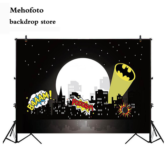 Mehofoto Superhero Cityscape Photography Backdrops Super Hero City Photography Background Themed Birthday Party for Children 849