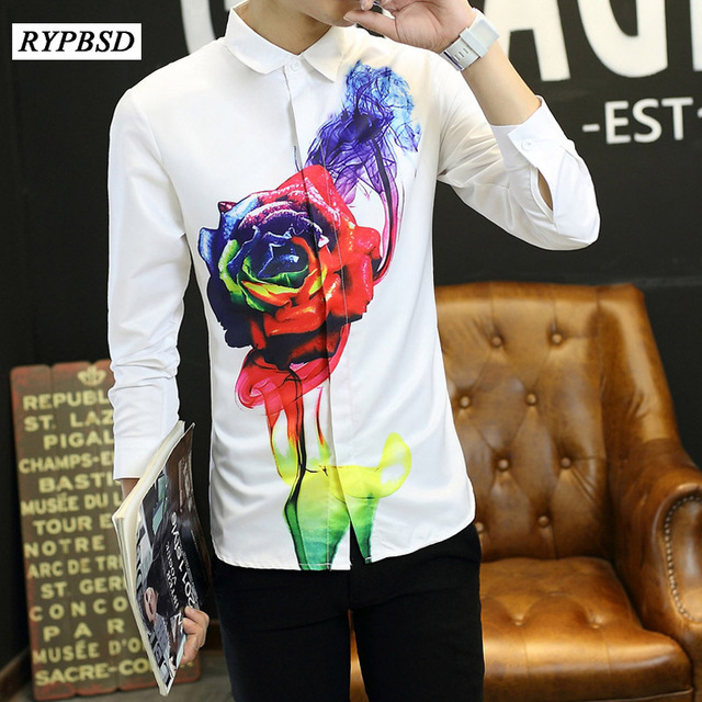 d10888293e595 Autumn Flower Printed Shirt Men Slim Korean Fashion Casual Long-sleeved  Shirt Floral Men's Shirt Slim Fit Camisa Masculina