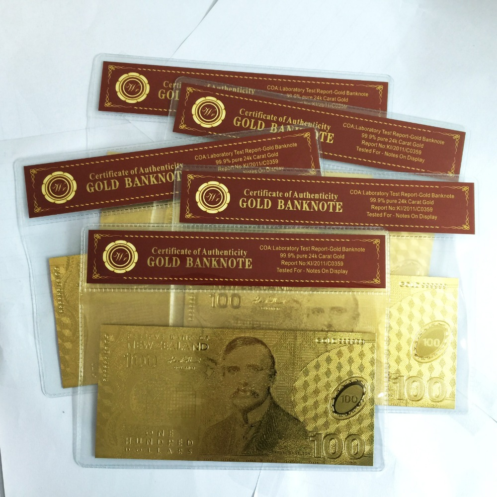 5pcslot Nice Gift Gold Plated Banknote New Zealand 100 Wedding Gift