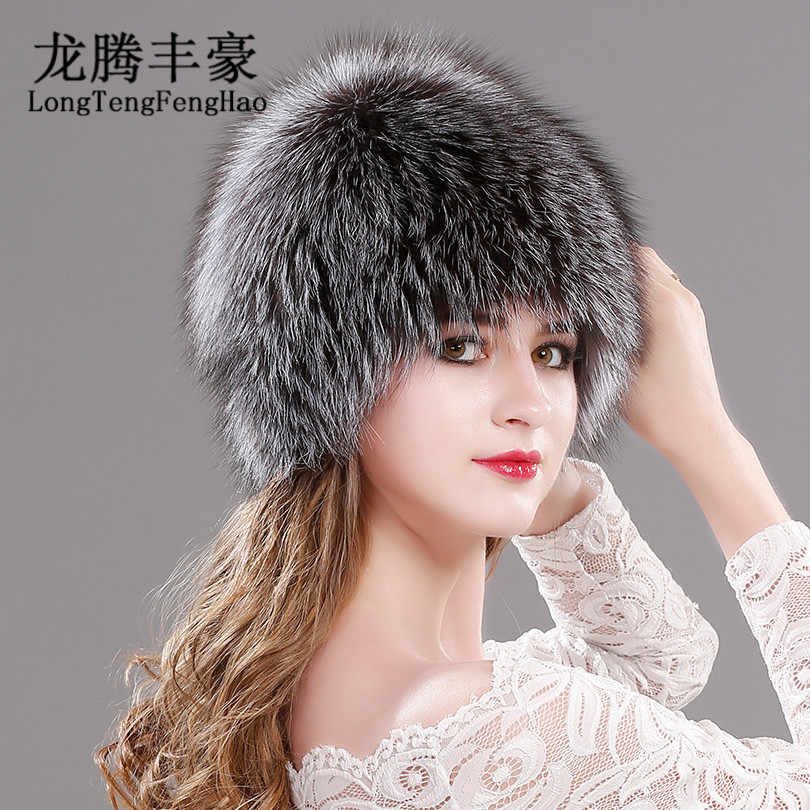 dc5cfa49 ... Natural Fox Fur Hats for Women Real Fur Beanies Cap Knitted Hats  Russian Winter Thick Warm ...