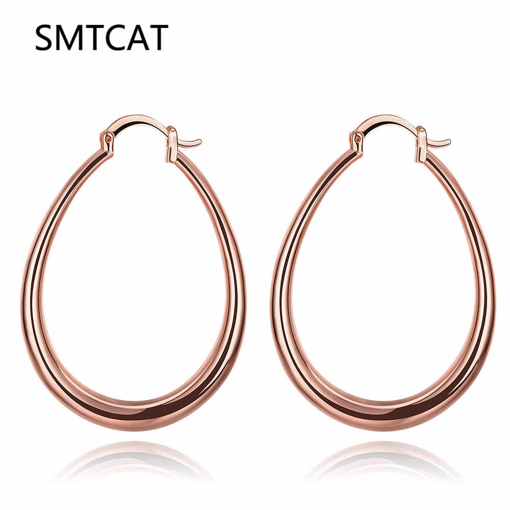 SMTCAT Big Geometry Brand Earring For Women Trendy Fashion Jewelry Gift Silver/Rose Gold/Gold Color Smooth Oval Hoop Earrings
