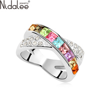 Swarovski Crystal Element Part Ring For Women Fashion 18K Gold Plated Female Wedding Ring High Quality