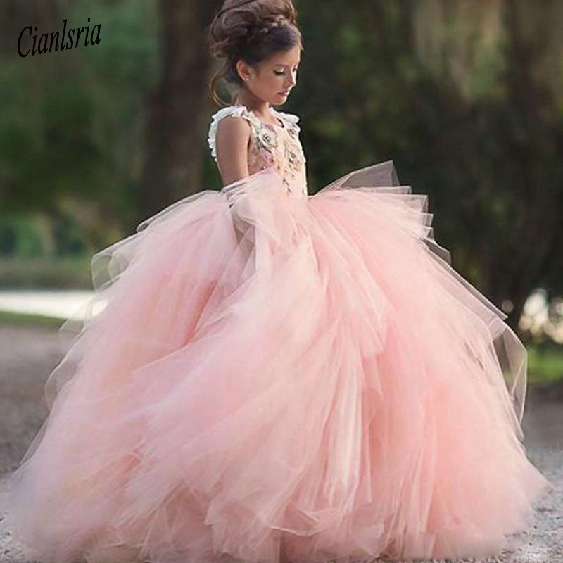 Charming Light Pink Ball Gown   Flower     Girls     Dresses   Spaghetti Strap Appliques Ruffles Tiered Skirt Little   Girls   Party Party Gowns