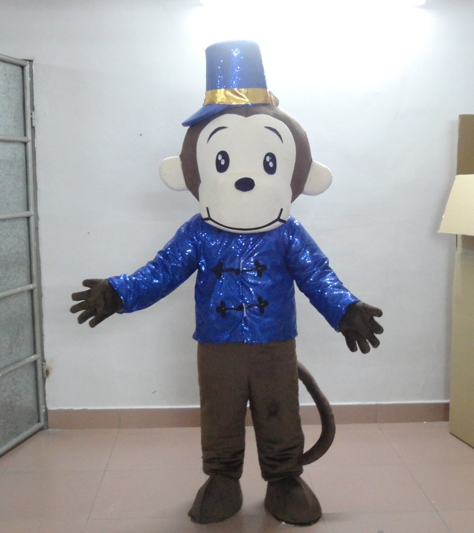 Mascot 2019 Fashion Lively Blue Sock Monkey Mascot Costume Mascotte Little Monkey With Big Red Mouth White Sock Hands Adult No.1887 Free Shipping