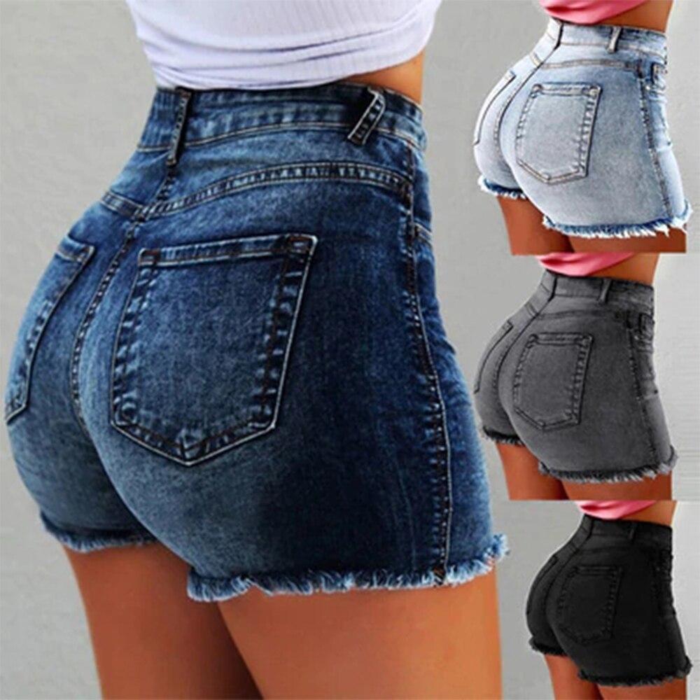 Laamei Fashion Sexy High Waist Denim shorts 2019 Summer Casual Straight Skinny Women Zipper Fly Short   Jeans   Feminino Femme