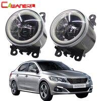 Cawanerl For Peugeot 301 2012 2018 Car H11 LED Lamp Fog Light Kit 4000LM Angel Eye DRL Daytime Running Light 12V Accessories