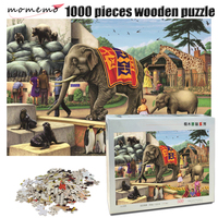 MOMEMO The Zoo Jigsaw Puzzle 1000 Pieces Wooden Puzzle Elephant Animal Adult Puzzle Decompression Puzzle Game Toys Kids Gifts