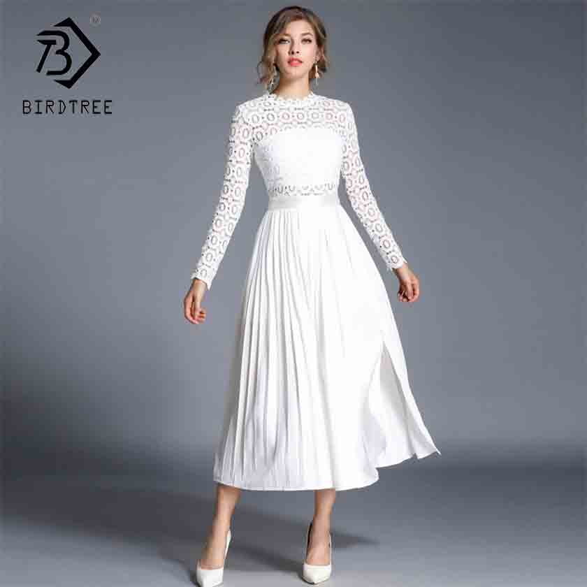 2019 New Autumn Women Solid Hollow Out Lace Patchwork Tunic Split Pleated Elegant Casual Long Sleeve Stand White Dresses D93232X