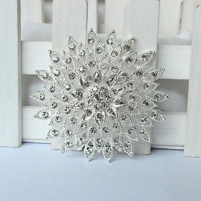 Broche de diamantes de imitación de plata ramo broches grandes broches hijab y broches de diamantes de imitación de cristal regalo de boda moda mujer 09166