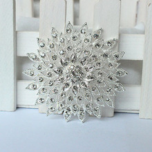 silver rhinestone brooch bouquet big brooches hijab pins and crystal wedding gift woman fashion party 09166