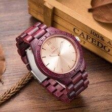 2016 Mens wood watch Design Top Luxury Brand Men s Bamboo Wooden Watch Quartz Movement purple