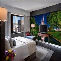 Papel De Parede 3D Wall Paper 3d Mural Decor Picture Backdrop Modern Castle Night Color Living