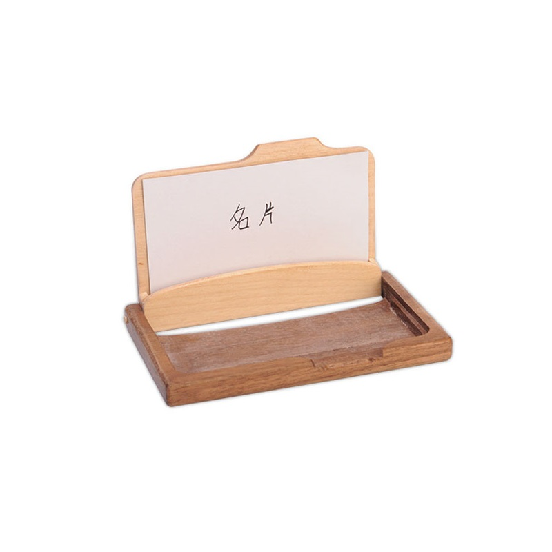 Vintage Wooden Business Card Storage Box ID Credit Cards Holder Case ...
