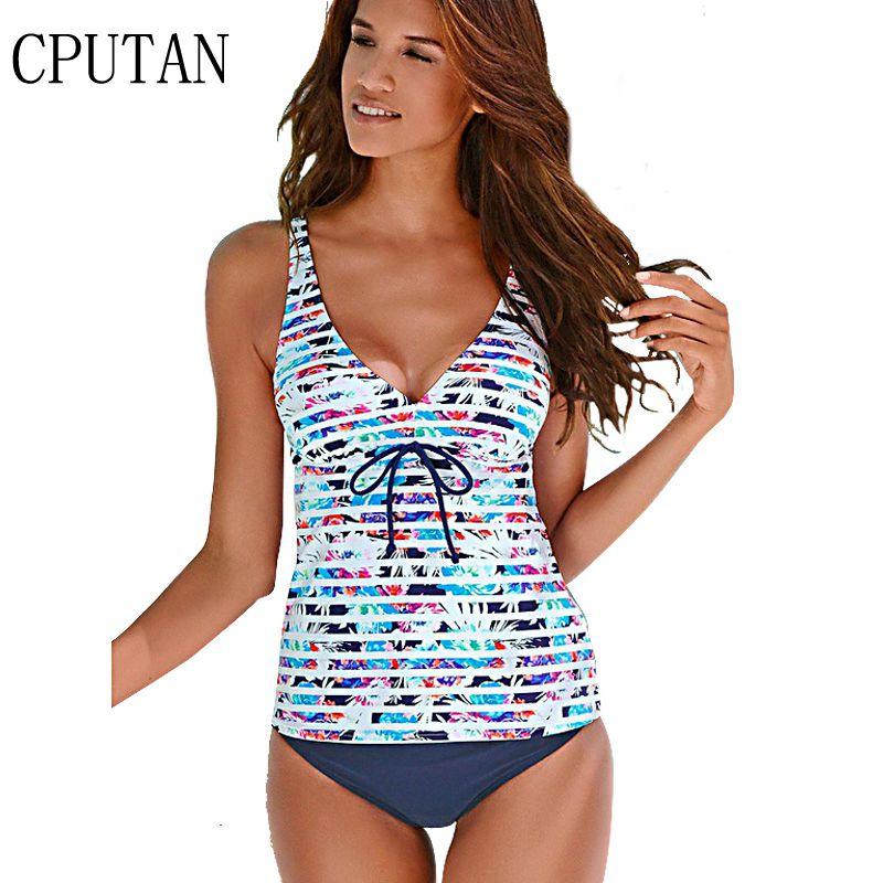 2018 Tankini Set Swimwear Women Plus Size Swimming Suit Vintage Stripe V Neck Swimsuit Floral Beach Wear Bandage Monokini Female halter floral skirted plus size tankini set