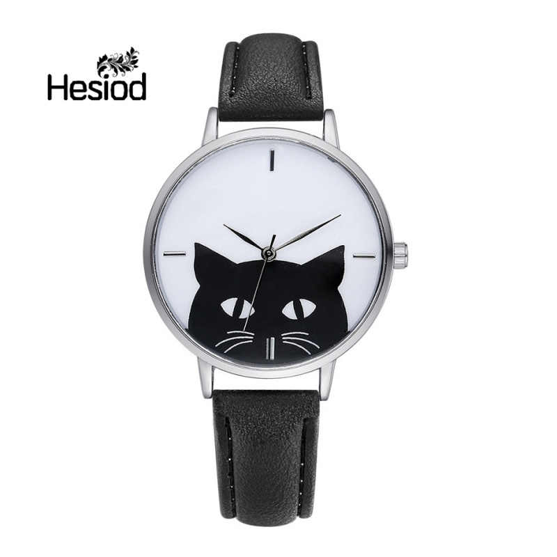 Hesiod New Arrival Black Cat Watch for Women Leather Band Solid Color Cute Animal Casual Wristwatch Wholesale