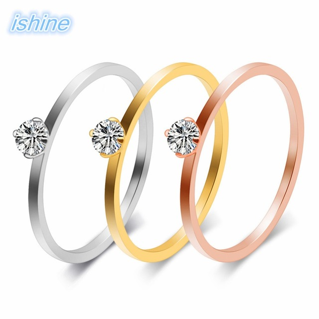 e9267b4aac Couple Ring Korean Style Fashionable New Simple Titanium Steel Rhinestone  Inlaid Zircon Stainless Steel Ring For