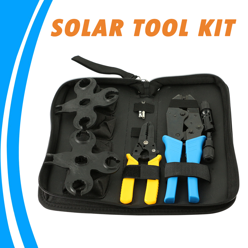 Solar Tool Set Crimping Pliers Wire Stripping Pliers MC4 Spanner MC Connector Multi Tool Kit Solar Tool Set Crimping Pliers Wire Stripping Pliers MC4 Spanner MC Connector Multi Tool Kit