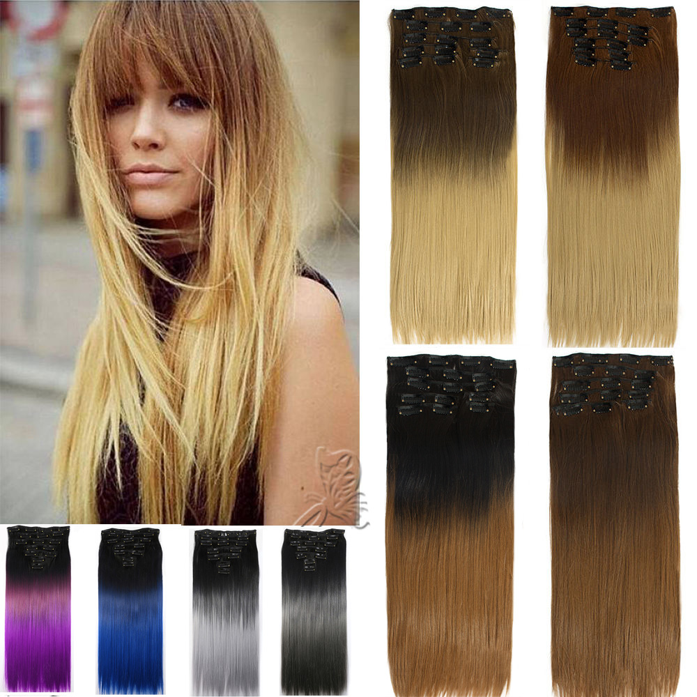 Hairpiece 24inch 60cm Straight 16 Clips In False Hair Styling