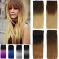 Hairpiece 24inch 60cm Straight 16 Clips In False Hair Styling Synthetic Clip In Ombre Hair Extensions 8 Colors B40
