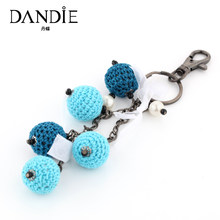 Dandie Fashion Crochet Round Beads Key Chain With Bowknot, Trend Jewelry Purse Bag Key Chains Keyrings(China)