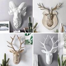 Original European Animal Deer Head Antelope Hanging Stereo Creative Living Room Mural Wall Background Decoration Resin Craft